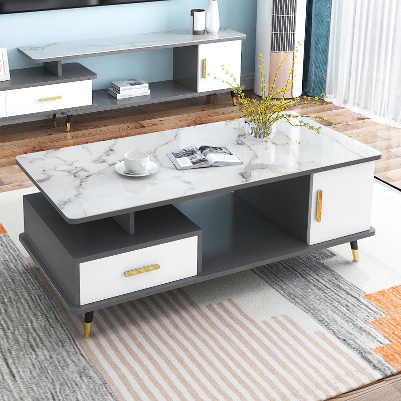 北欧圆角茶几轻奢现代简约钢化玻璃客厅家用小户型茶桌电视柜组合