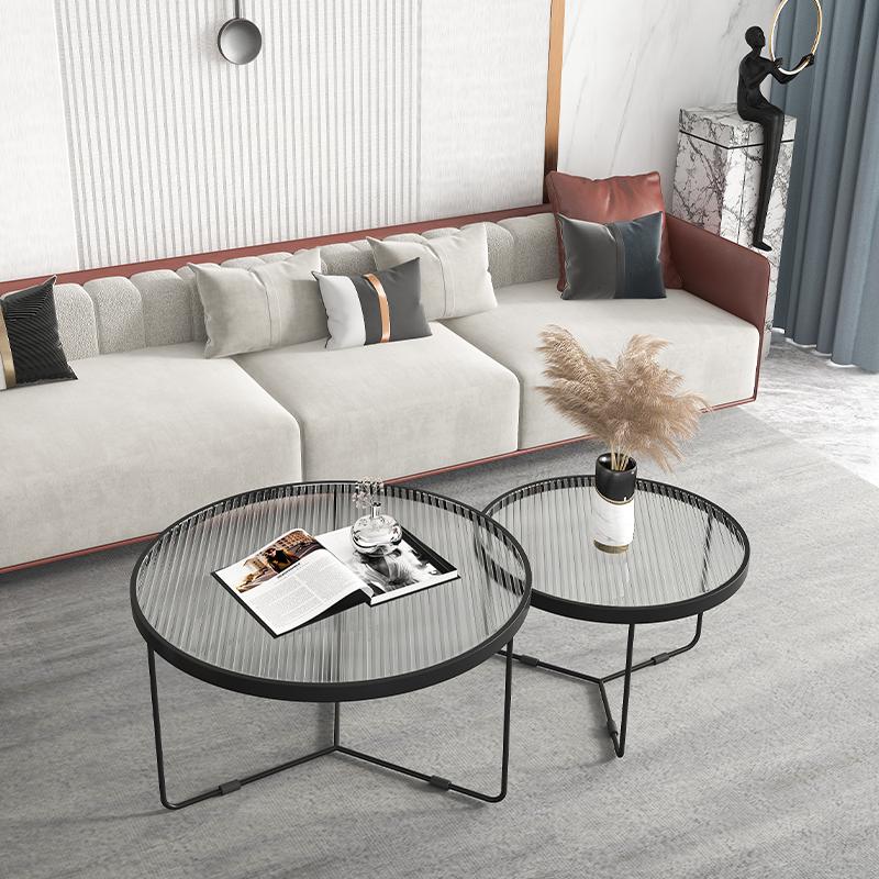 意式轻奢茶几圆形简约现代长虹钢化玻璃茶几桌客厅小户型家用组合