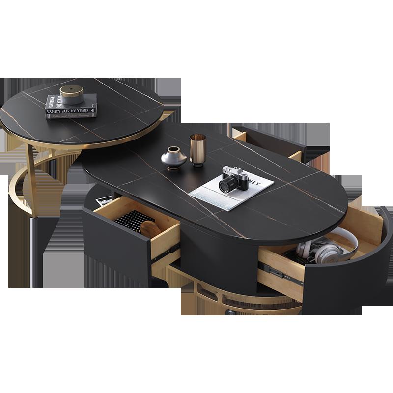 椭圆茶几桌组合现代客厅小户型简约圆形伸缩带抽屉大理石茶几整装