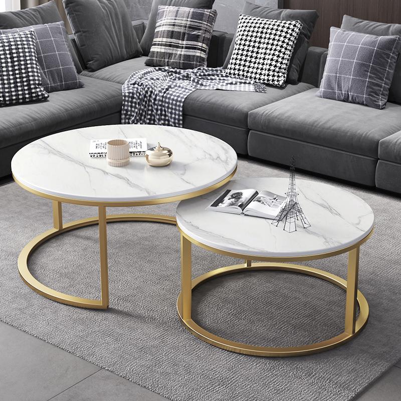 大理石茶几桌客厅家用北欧轻奢现代岩板圆形组合小户型多功能花几