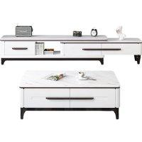 北欧轻奢大理石茶几电视柜组合简约现代小户型轻奢客厅家用岩板桌