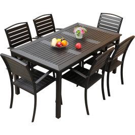 户外塑木桌椅庭院防腐木室外休闲餐桌花园露天阳台咖啡厅桌椅组合