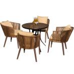 户外防腐木塑木桌椅阳台藤椅室外庭院藤编花园休闲院子里的小桌椅