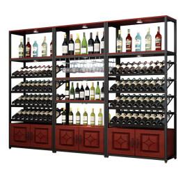 红酒柜超市白酒架酒庄落地柜收纳铁艺展示柜置物架货架葡萄酒酒架