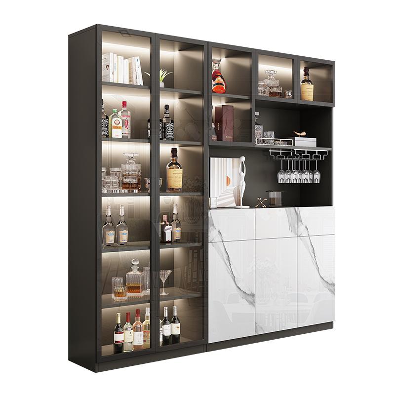 轻奢客厅酒柜高档储物柜现代简约餐边柜一体玻璃门展示柜靠墙柜