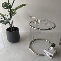 中古升降茶几玻璃边几简约现代圆桌沙发角几网红ins透明咖啡桌