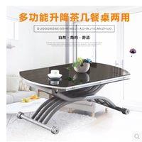 小户型升降茶几餐桌两用简约现代多功能折叠伸缩圆形钢化玻璃茶桌