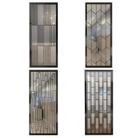 现代简约铁艺玻璃屏风隔断客厅玄关装饰北欧轻奢卧室入门遮挡家用