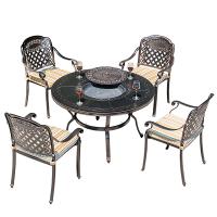 烧烤架户外烧烤桌烧烤炉家用炭烤烤肉桌庭院室外桌椅商用圆形烤台