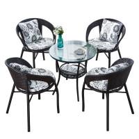 阳台小桌椅室外藤椅三件套户外休闲茶几滕椅子组合庭院手编靠背椅